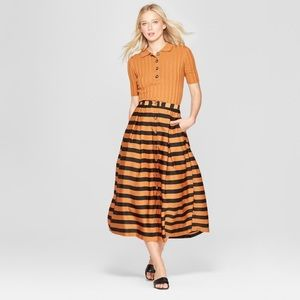 Striped Button Down Midi Skirt